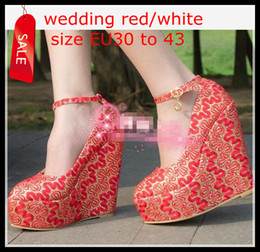 Women's Bride Wedding Shoes Plus Extra Size Red White Embroidery Lace Ankle Strappy Platform Wedge Heel Shoes Size 30 31 32 to Size 41 42 43