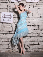 Wholesale Gorgeous Light Sky Blue Appliques Tiered Beading One Shoulder Sleeveless A line Tulle Party Prom Evening Homecoming Cocktail Dresses