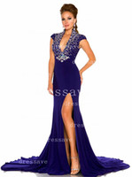 Wholesale 2014 Sheath Evening Dresses V neck Crystals Sequins Beads Side slit Satin Prom Mother of the Bride Dresses BO2305