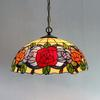 Rose Tiffany Glass Pendant Lamp Europe Style Rural Chandelier Study Room Bedroom Light Dia 40cm H 100cm