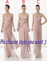 Wholesale Dusty pink bridesmaid dresses with pleat bodice empire waist summer chiffon skirt cheap women party gown classical vestidos de fiesta
