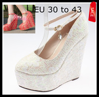 Wholesale EU30 TO Plus Extra Size Women s Shoes Colors Red White Embroidery Lace Popular Dreamy Wedding Shoes CM High Wedges Shoes