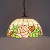 Rose Tiffany Glass Pendant Lamp Europe Style Chandelier Study Room Bedroom Light Dia 40cm H 100cm