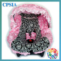 Wholesale Fashion Damask Pink infant car seat canopy cover fit most seat white black fluffy Pink sets