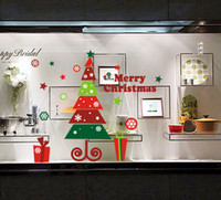 Wholesale New DIY Xmas Tree Shop Window Stickers Muli color Christmas Wall Decals By DHL