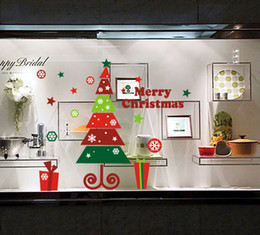 New DIY Xmas Tree Shop Window Stickers, Muli-color Christmas Wall Decals, 24pcs lot, Free shipping By DHL