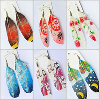 Wholesale Earring Jewelry Gift pairs Handmade Silver Tone Hook Natural Feather Printing Dangle Earrings Fashion