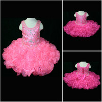 little girls beautiful dresses - Beautiful Jewel Fuchsia Pink Organza Beads Short Pageant Dresses For little Girls