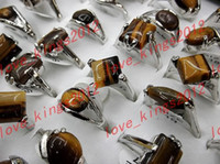 Wholesale assorted Natural Tiger Eye Gemstone Silver P Rings Jewelry