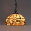 Rose Tiffany Glass Pendant Lamp European Style Rural Chandelier Study Room Bedroom Light Dia 30cm H 95cm