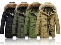 Wholesale Mens Overcoat Duck Down Hooded Warm Jacket Winter Zip Detachable Parka Coat Q12