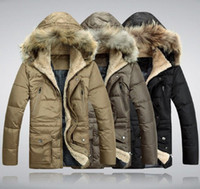 Wholesale Men s Fur Collar Hooded Duck Down Feather Thick Jacket Coat Parka L XL
