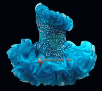 Wholesale Sequins beaded crystal organza ruffles infant cupcake pageant party dresses ball gowns flower girls dance prom mini skirt Feisty LeRaye