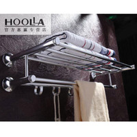 Wholesale Hoolla stainless steel towel rack space aluminum double layer towel rack belt clothes hook