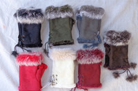 Wholesale Lapin Rabbit Hair Fur Lady Leather Gloves Fashion Fingerless Winter Gloves Half Finger Gloves Paris