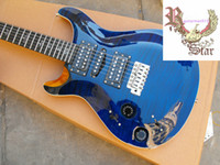 6 Strings blue guitar - Left Hand Custom Ebony Fret Board electric guitar in Deep Blue Tige Freeshipping