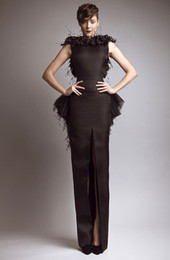 Wholesale New Glamorous Brown Bateau Keyhole Back Slit Peplum Feather Evening Dresses