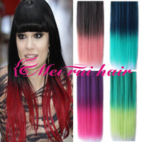 Wholesale Synthetic hair quot cm long Straight bicolor Clip On In Hair Extension Hair piece gradient Colors wig