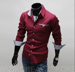 Wholesale Freeshipping Fashion Brand Men s Clothing Long Sleeve Dress Shirt Solid Color With The Yarn Dye Plaid Interior Band XXXL