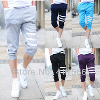 Men Bootcut Capris christmas R5 Color FREE Shipping 2013 Newest Men's Casual Sports Dance Hip Hop Pockets Trousers Capri pants SLACKS