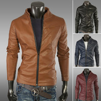 Men Cotton Couple Fashion 2013 Free Shipping New Men Leather Jacket Slim Leather Korean Men Jacket Installed Wagon Winered Black Yellow Blue M L XL XXL