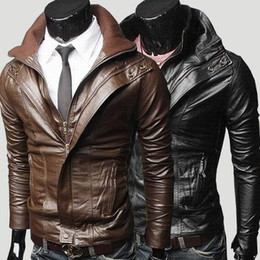 Wholesale 2013NEW Men s Double Collar Short Design Slim Leather Clothing Outerwear Male Casual Water Wash Motorcycle Jackets