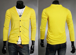 Wholesale New Men s Long Sleeves Knitwear Slim Fit Cardigan V Neck Sweater