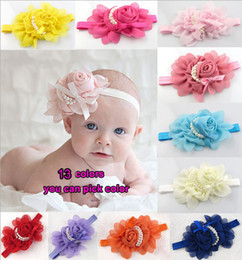Colorful Baby Girls chiffon Headband for Photography props rose pearl flower Headbands 15pcs lot