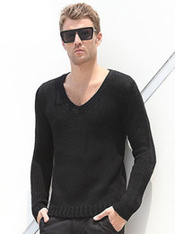 Wholesale Casual Black Knit V Neck Cotton Men s Pullover Knitwear Sweater swimwear u8 h0G