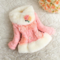 Wholesale 2013 winter new fur coat fur collar scarf youngster stereoscopic flower fashion girls coat