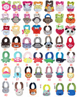 Wholesale 47 Style Animal Three D Cute Cartoon Soft Saliva Towel Baby Bibs layer waterproof baby Feedings Animal Button bibs colors feedingse D