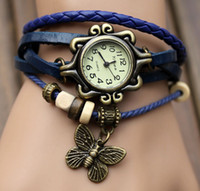 Wholesale High Quality Women Genuine Leather Vintage Watch bracelet Wristwatches butterfly quartz wrist watch for women