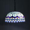 Tiffany Blue Glass Pendant Lamp Mediterranean Style Chandelier Study Room Bedroom Light Dia 30cm H 95cm