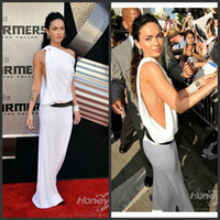 Sheath/Column Ruffle Chiffon Megan Fox White Beading Dress Premiere of Transformers Celebrity Dress Free Shipping AM111