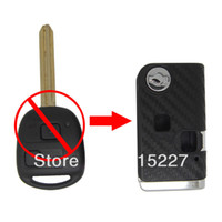 Wholesale 2 Buttons Car Modified Flip Remote Key Shell Case for Toyota Prado D Carbon Fiber Sticker Car Keys Blank Cover HKP