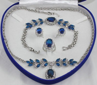 Celtic blue stainless steel earring - Fashion Gothic bridal jewelry sets K White Gold GP Inlay Australia Crystal Necklace Bracelet Earring Ring Set