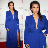 Chiffon Long Sleeve Floor-Length Popular Deep V-neck Slit A-line Long Royal Blue Ruffle Chiffon Long Sleeve Kim Kardashian Evening Dresses