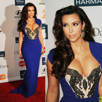 Chiffon Sleeveless Floor-Length Sexy Sweet-heart Cap Sleeve Sheath Long Royal Blue Chiffon Beaded Kim Kardashian Evening Dresses