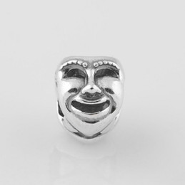 Wholesale Authentic S925 Stamped Sterling Silver Theatre Drama Mask Charm Bead Fits European Pandora Jewelry Bracelets Necklaces