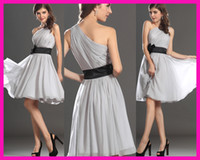 Wholesale Silver One Shoulder Black Belt Short Chiffon Bridesmaid Brides Maid Dress B2169