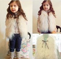 Wholesale Fashion Girl Warm Vest Jacket Children Outwear Waistcoat Kids Clothes Sleeveless Tank Coat Girls Fur Outer Free Size No Bow Drawsting D0668