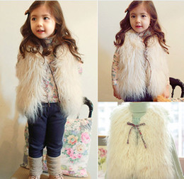 Wholesale Fashion Girl Warm Vest Jacket Children Outwear Waistcoat Kids Clothes Sleeveless Tank Top Coat Girls Winter Casual Fur Outer D0668