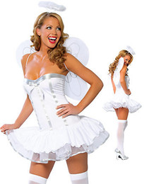 Wholesale White angel costumes with wings Princess Strapless bridesmaid dress party dress club dress cosplay A001137