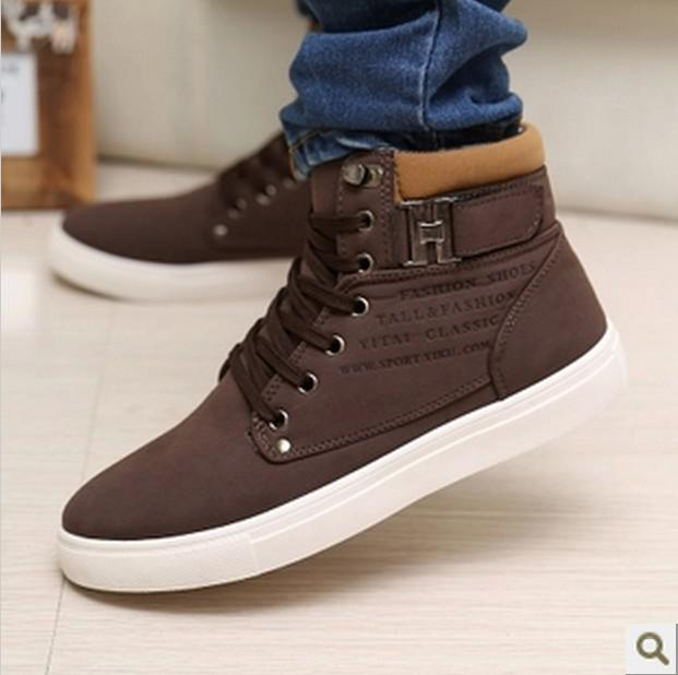 Leather High Tops Men Leather Lace High Top Warm