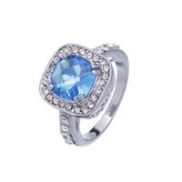 Engagement gemstone rings - Silver K Gold Filled Engagement Ring Crystal Blue Gemstone Zircon Finger Rings Size GBZ10