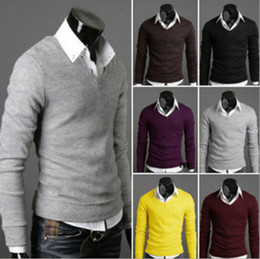 Wholesale Trend all match uyuk men s clothing thickening V neck multicolor basic sweater male sweater
