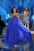 Chiffon Long Sleeve Floor-Length Custom Made Royal Blue Scoop Neckline Long Sleeve Zuhair Murad Formal Evening Dresses With Sequins Crystle Hot Party Prom Dress Gowns