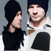 Wholesale Men s Women s Hat Solid Color Stripe Knitted Double Layer Winter Fashion Cap