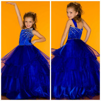 Reference Images Girl Beads Ideal Winning Royal Blue One Shoulder Sugar Pageant Dress Ruffle Organza Ball Gown Little Girls Party Prom Pageant Dress Gowns 81524S