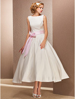 Garden Summer Simple 2014 New Elegant Simple Bateau Satin waistband Ball Gown Tea length Short wedding dresses 012556864